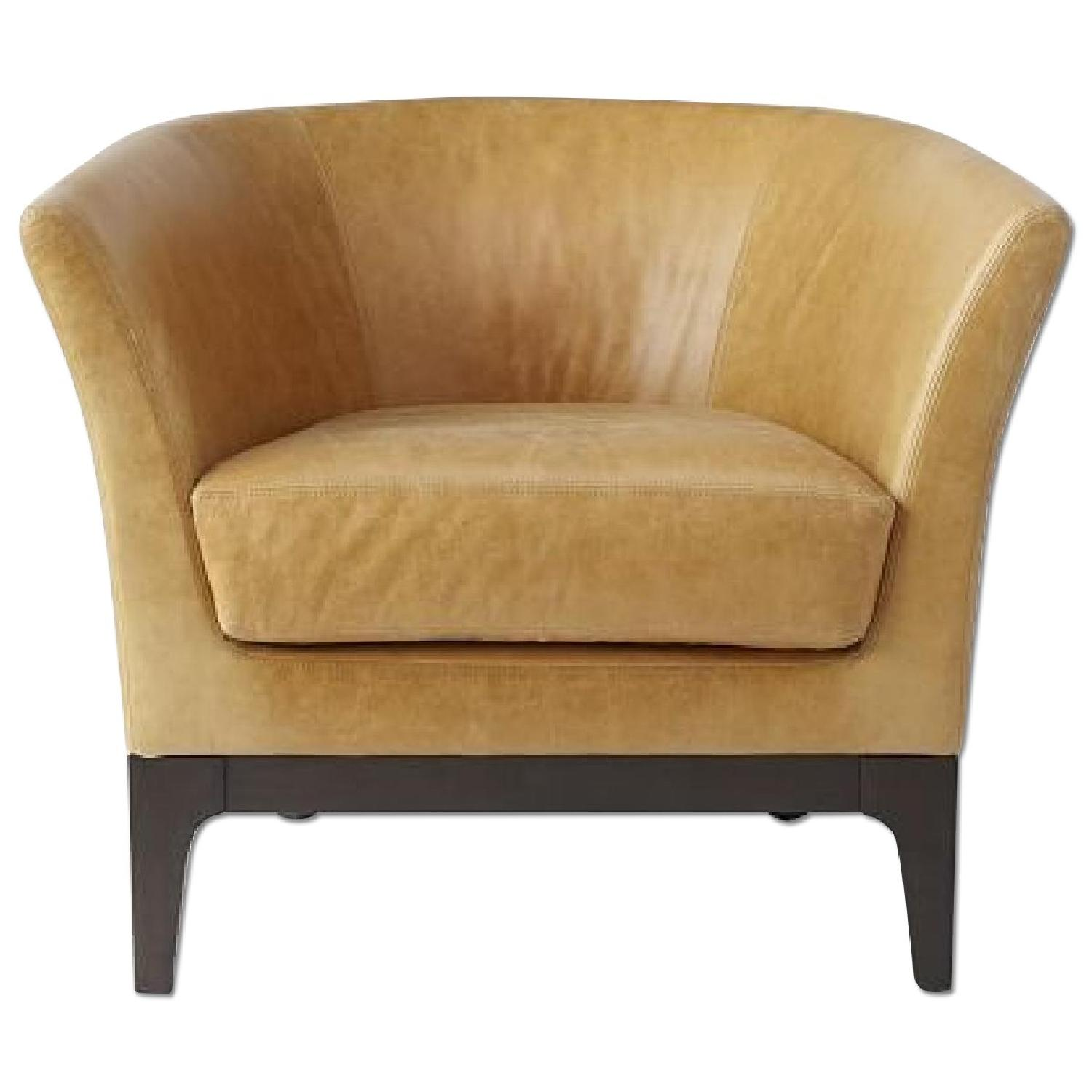 West Elm Tulip Leather Chair AptDeco
