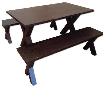West Elm Dining Table w/ 2 Benches