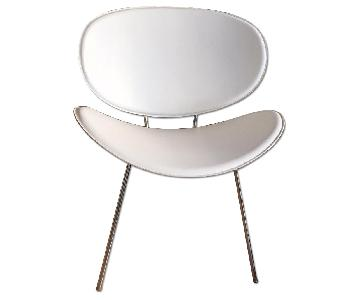 West Elm White Leather Chair