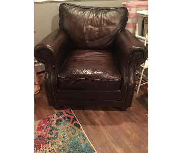 Raymour & Flanigan Leather Armchair w/ Rustic Nailheads
