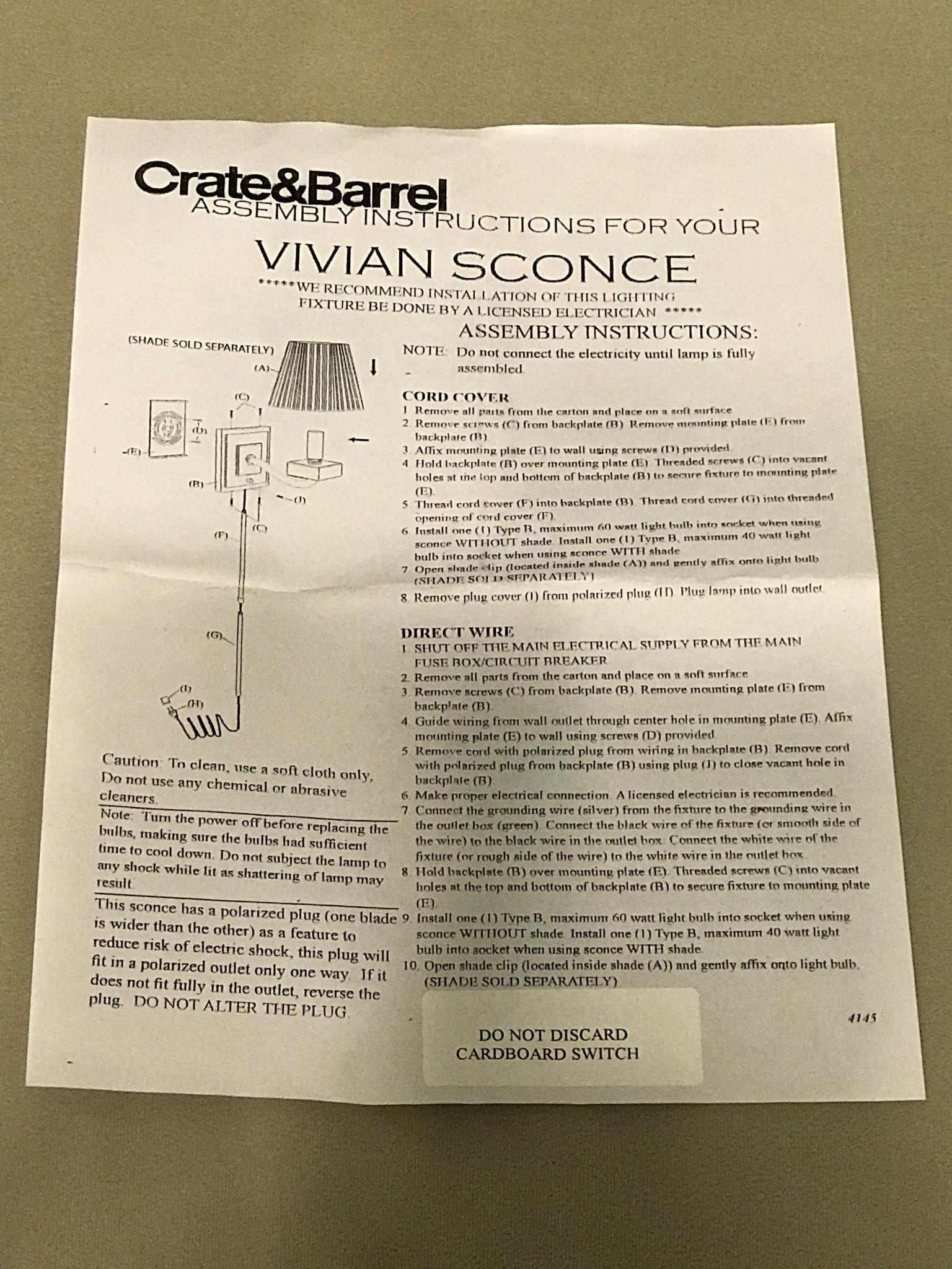 Crate & Barrel Vivian Plug-In Wall Sconce