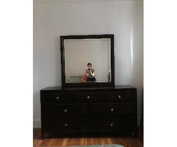 Raymour & Flanigan Dark Wood 7 Drawer Dresser w/ Attached Mi