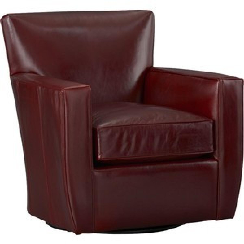 Crate Barrel Crimson Leather Swivel Chair