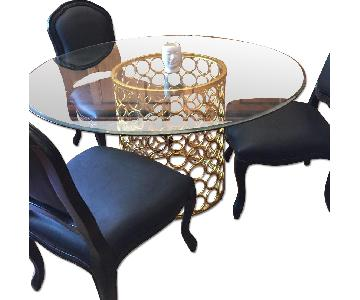 Round Dining Table w/ 3 Black Leather Chairs