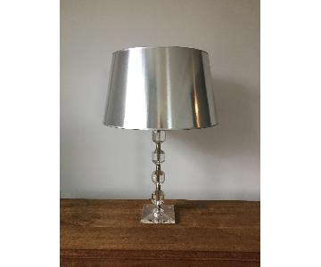 Art Deco Acrylic Lamp w/ Metalic Shade