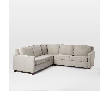 West Elm Henry 3-Piece L-Shaped Sectional in Twill Gravel