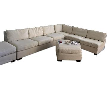 Mitchell Gold + Bob Williams Faux Linen Sectional Sofa & 2 O