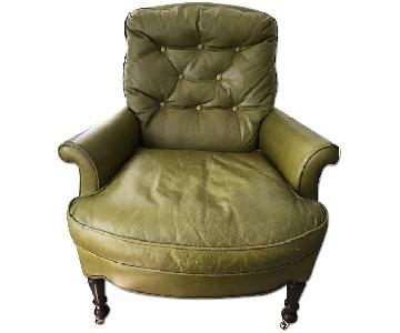 Tufted Leather Armchair in Green