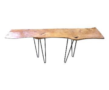 Live Edge Oak Wood Console Table w/ Hairpin Legs