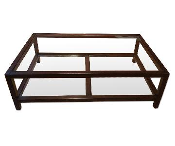 Pottery Barn Gayle Wood & Glass Coffee Table