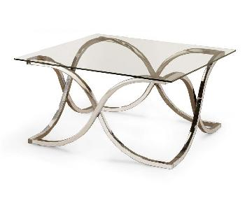 Modern Square Coffee Table w/ Chrome Base & Glass Top