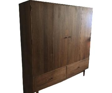 Room & Board Solid Walnut 2 Door Bi-Fold Armoire