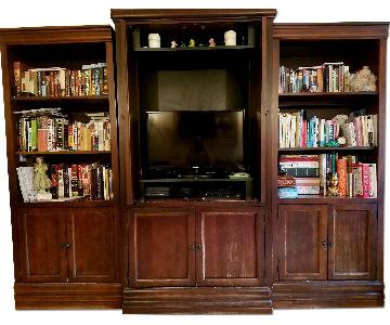 Solid Wood Entertainment Center w/ Bookcases