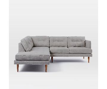 West Elm Mid-Century Style Right Arm Sectional Sofa w/ Left