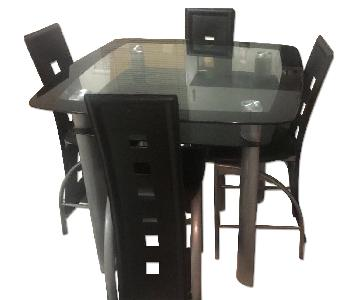 Square Frosted Glass Top Leather Modern 5 Piece Dining Set