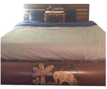 Thai Bamboo Inlaid Wood California King Bed