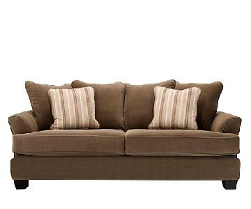 Raymour & Flanigan Brown Microfiber Queen Sleeper Sofa