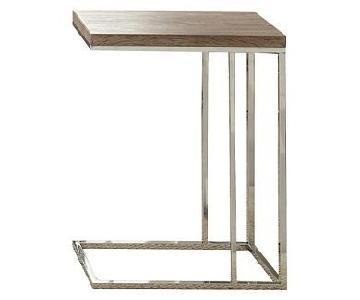 Steve Silver Co. Modern Wood & Silver Side Table