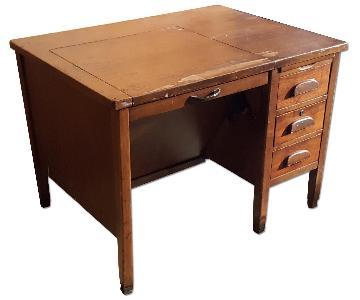 Vintage Wood Writing Desk w/ Drawers & Folding Top