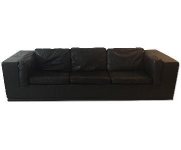 Desede Black Leather 3 Seater Sofa + Loveseat