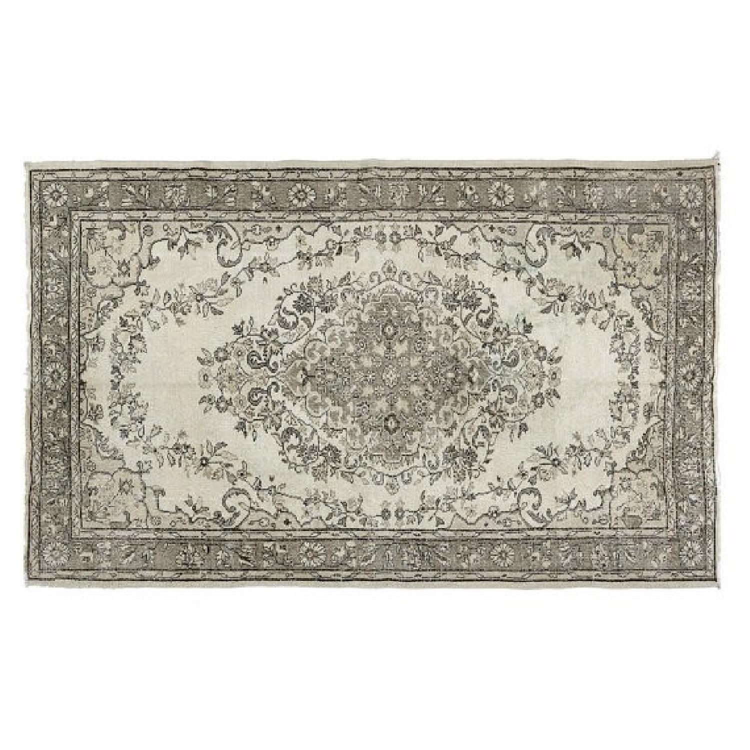 Vintage Turkish Hand-Woven Overdyed  Rug in Grey - image-1