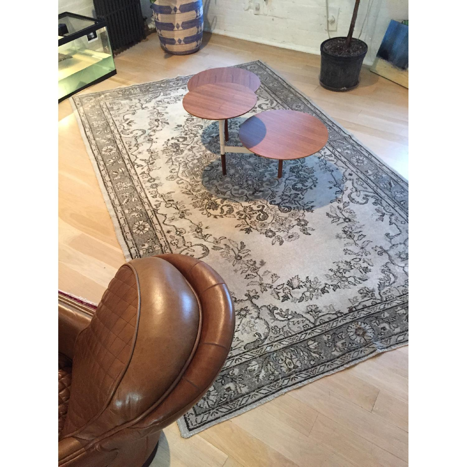 Vintage Turkish Hand-Woven Overdyed  Rug in Grey - image-2