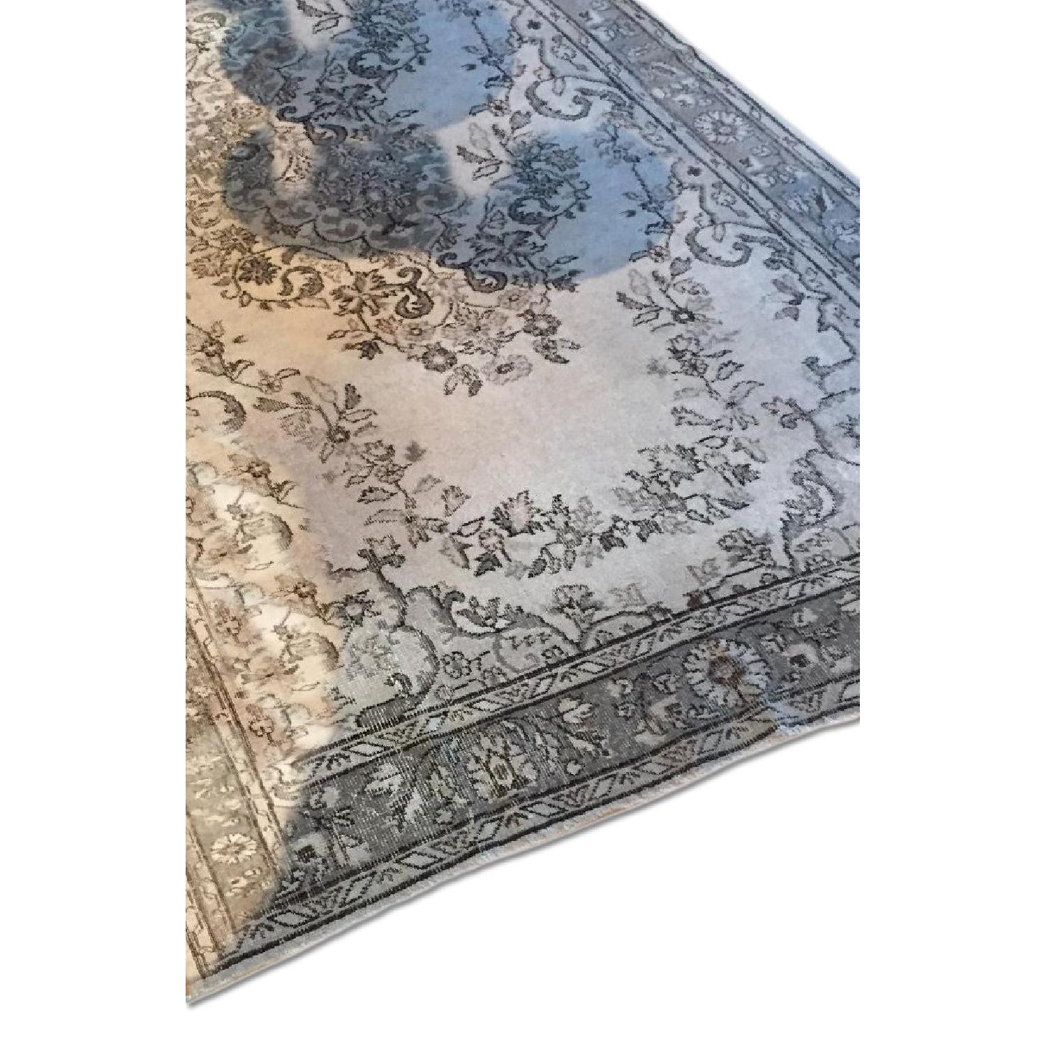Vintage Turkish Hand-Woven Overdyed  Rug in Grey - image-0