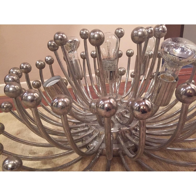 Vintage Silver Metal 5 Bulb Ceiling Lamp/Chandelier - image-3