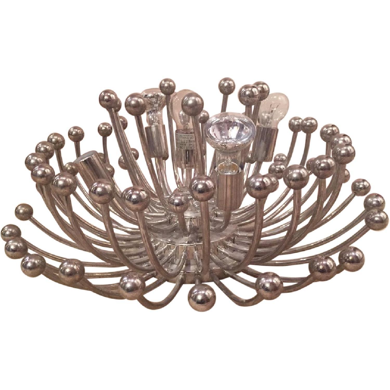 Vintage Silver Metal 5 Bulb Ceiling Lamp/Chandelier - image-0