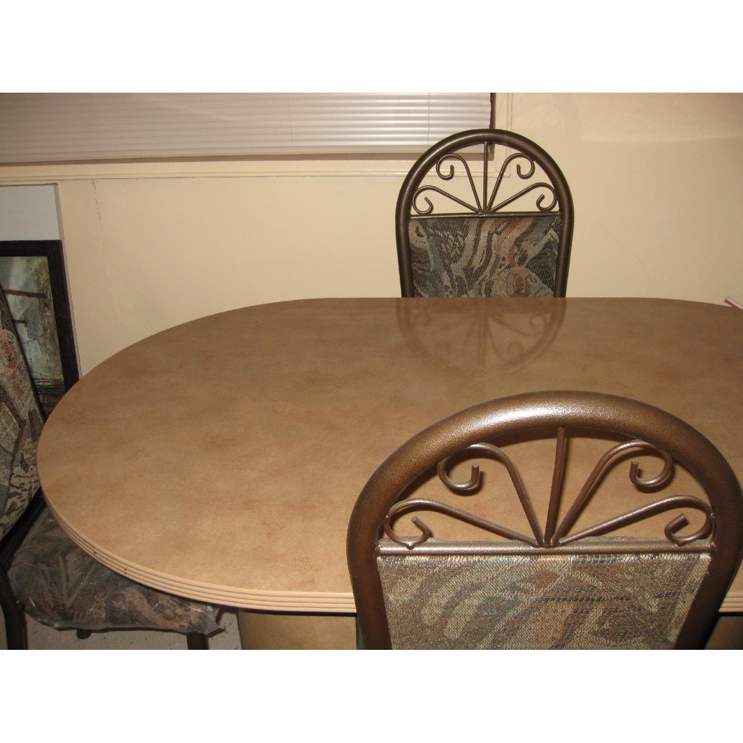 Ethan Allen Granite Marble Oval Dining Table in Brownish Tan-0