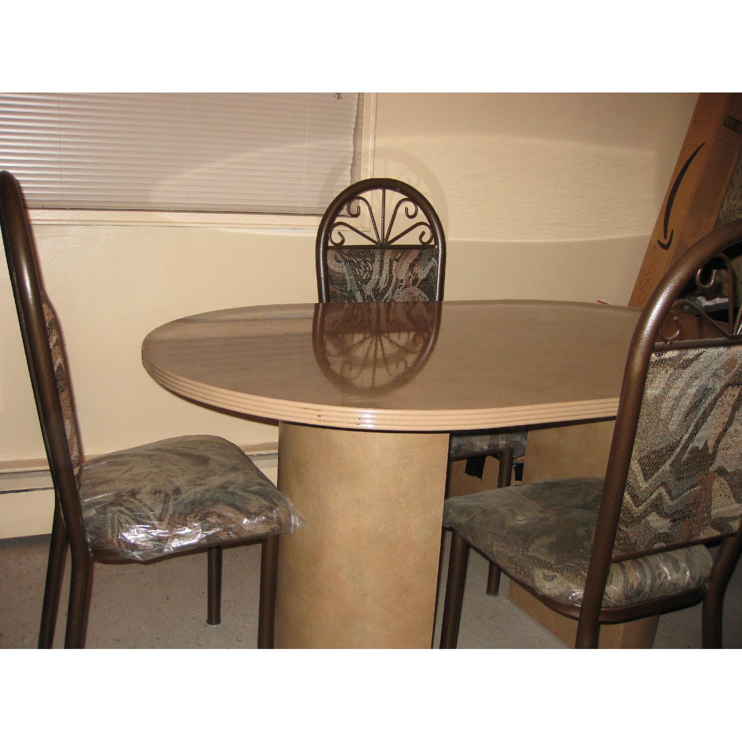 Ethan Allen Granite Marble Oval Dining Table in Brownish Tan-1