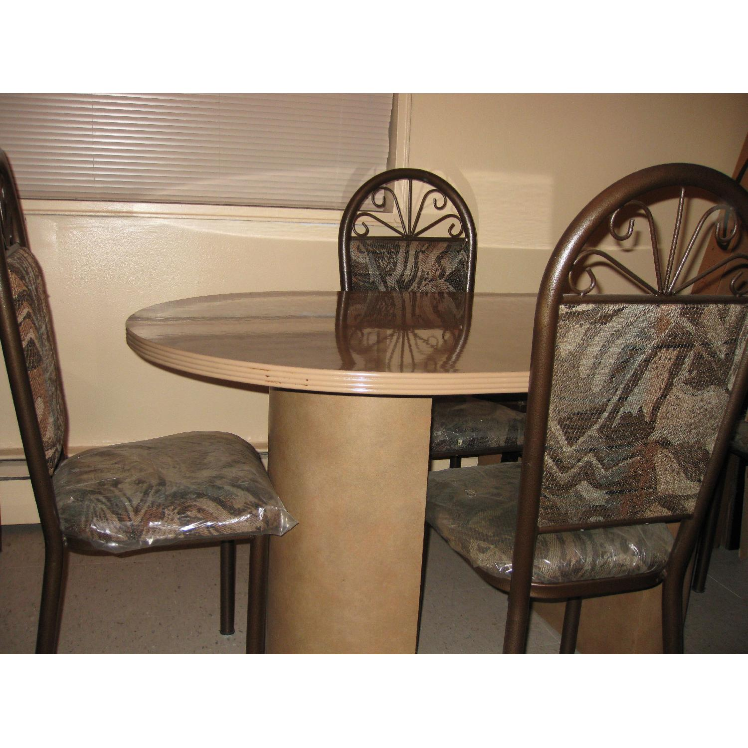 Ethan Allen Granite Marble Oval Dining Table in Brownish Tan-2