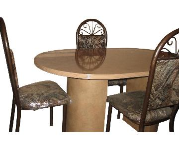 Ethan Allen Granite Marble Oval Dining Table in Brownish Tan