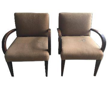 Mid Century Lined Arm Chairs