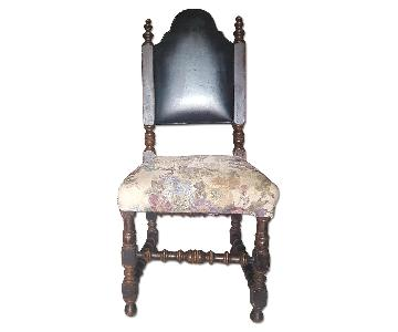 Rustic Wooden Chair w/ Leather Upholstery