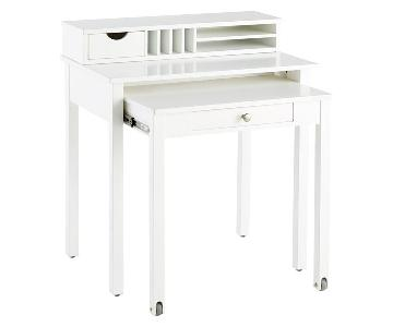 Container Store White Solid Wood Roll-Out Desk