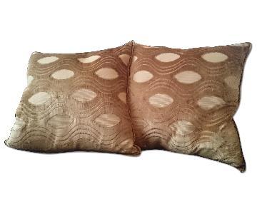 Pier 1 Gold Velour, Feather-Stuffed Pillow