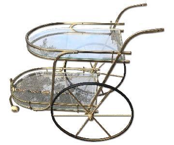 Mid Century 1950s Brass & Glass Bar Cart