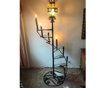 Vintage 1960s Wrought Iron Spiral Staircase Plant Stand Lamp