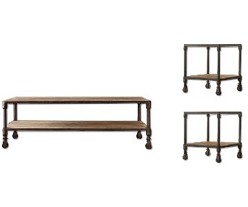 Restoration Hardware Dutch Industrial Coffee + 2 Side Tables