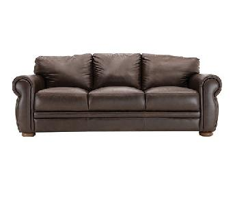 Raymour & Flanigan Marsala Leather Sofa