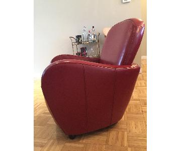 Red Leather Art Deco Arm Chair