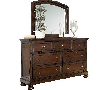 Ashley's Rustic Brown Porter Dresser w/ Mirror