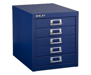Container Store Bisley Oxford Blue 5-Drawer Cabinet