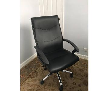 Black Leather Office Chair on Wheels