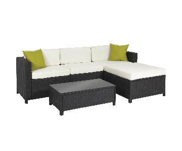 Black Wicker Outdoor Sectional Sofa