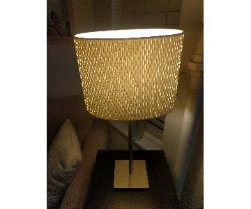 Ikea Alang Matching Table and Floor Lamps with Lampshades
