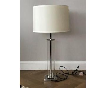 Restoration Hardware Polish Nickel French Glass Table Lamp