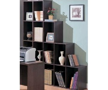 Staircase Style Bookcase in Dark Brown Finish