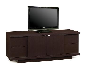 Contemporary TV Stand with 4 Drawers & a Storage Compartment